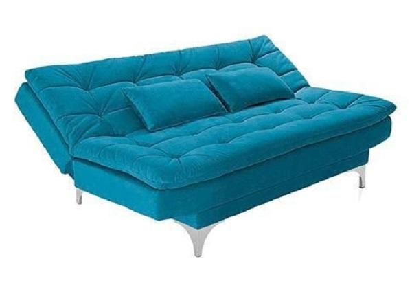 Sofá suede em tom azul turquesa
