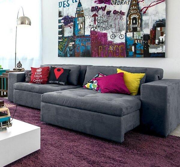 Sofá retrátil suede cinza 3 lugares para sala de estar