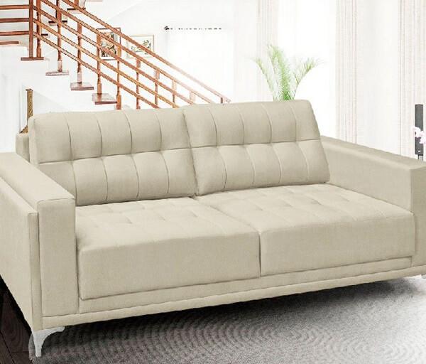 Conjunto de sofá suede branco 2 lugares