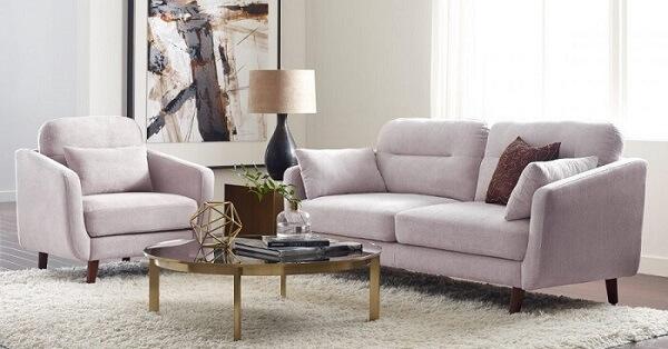 Conjunto de poltrona e sofá suede para sala de estar