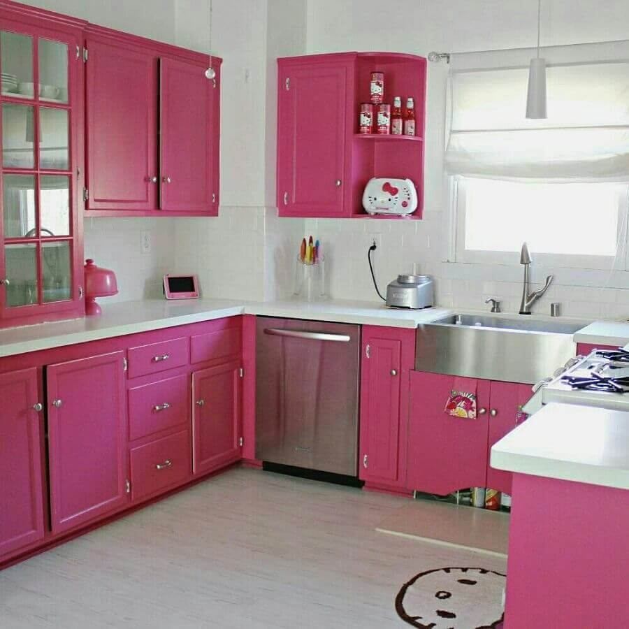 Uma cozinha cor de rosa feita de sonhos Foto Gosto disto!