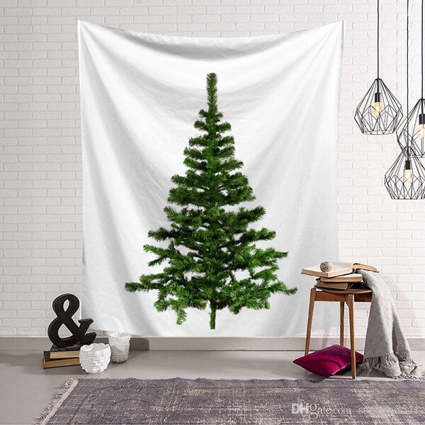 Utilize um tecido com desenho de árvore de Natal e decore seu ambiente