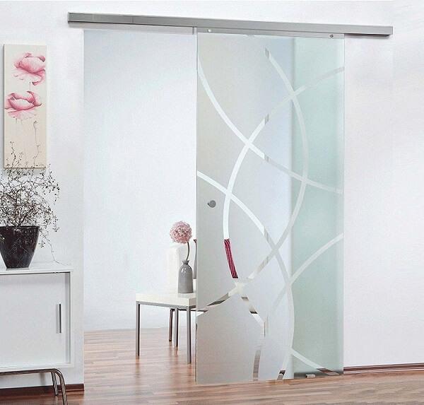 Porta de vidro jateado com roldanas
