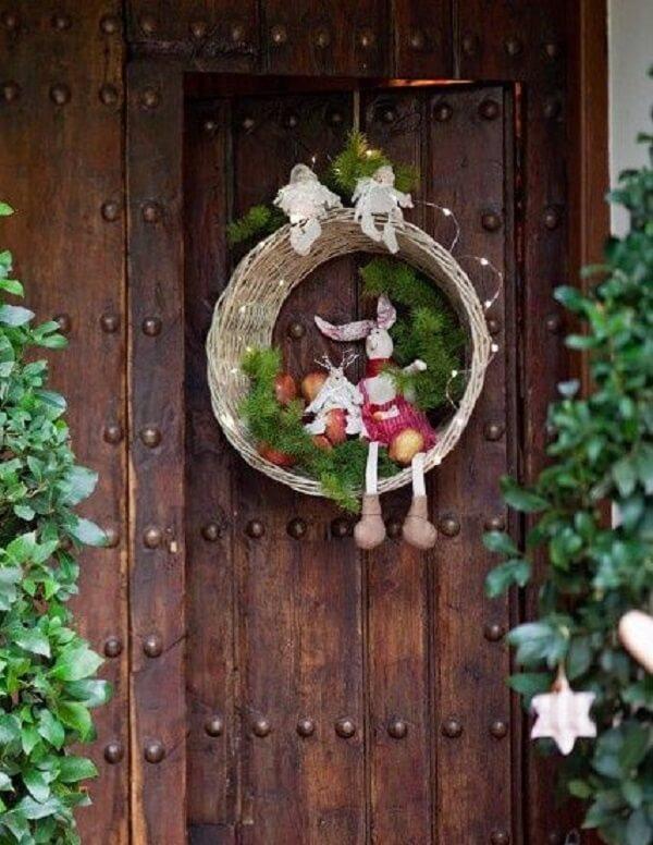 Enfeite de natal para porta de madeira