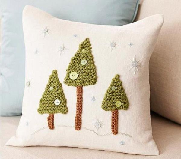 Invista em almofadas de crochê de Natal