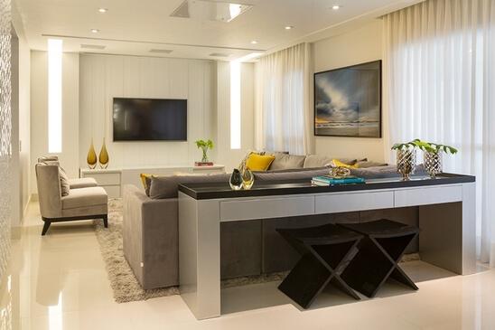 aparador de sofá - aparado preto e cinza