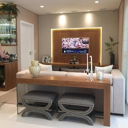 aparador de sofá - aparador com bancos e velas