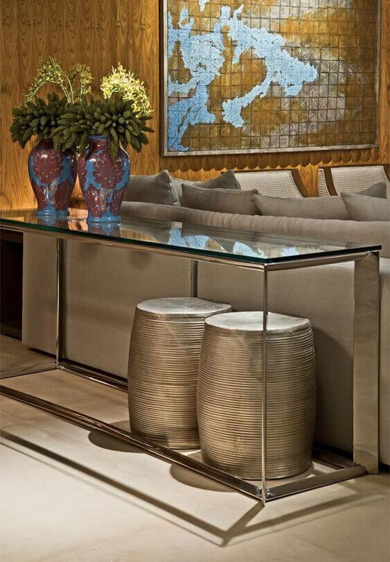 aparador de sofá - aparador com tampo de vidro