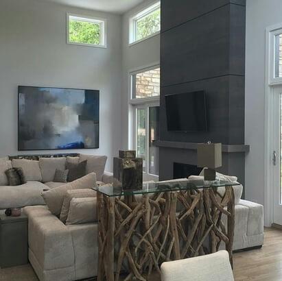 aparador de sofá - aparador com tampo de vidro e estrutura de tronco