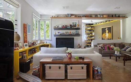 aparador de sofá - aparador de madeira com baús