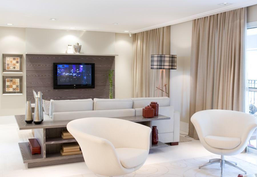 aparador de sofá - aparador, poltronas com tecido branco e luminária