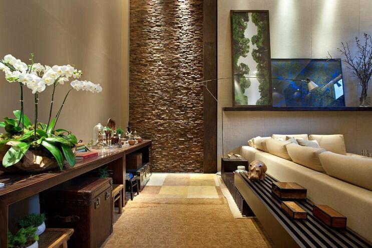 aparador de sofá - sala de estar com aparador e baú