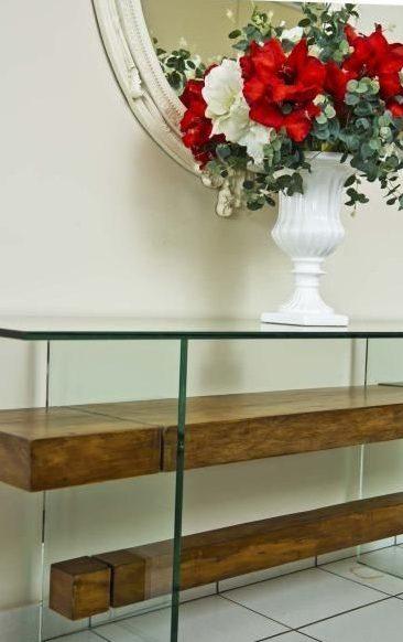 aparador de vidro - aparador de vidro com madeira