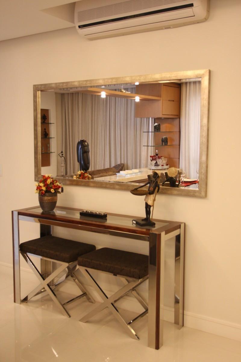 aparador de vidro - aparador de vidro e aço com espelho emoldurado