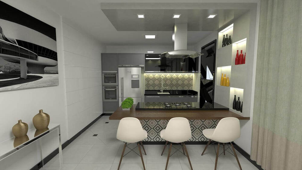 aparador de vidro - cadeiras brancas, aparador de vidro e vasos