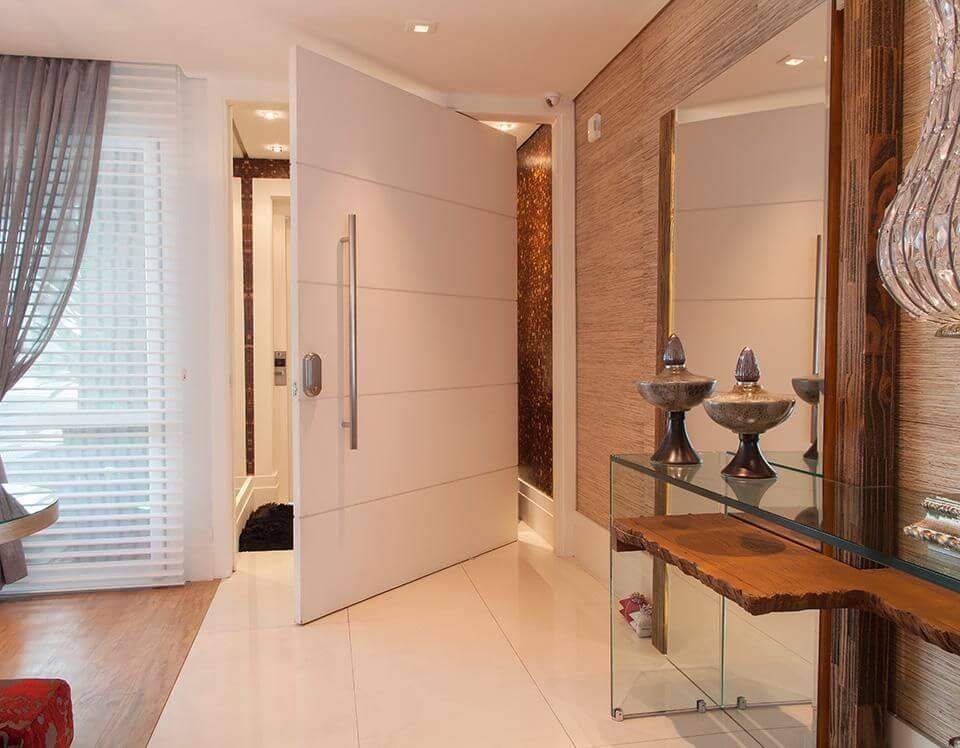 aparador de vidro - hall com aparador de vidro e espelho