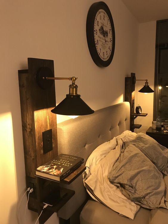 bedroom wall light - bedroom with demolition wood wall light
