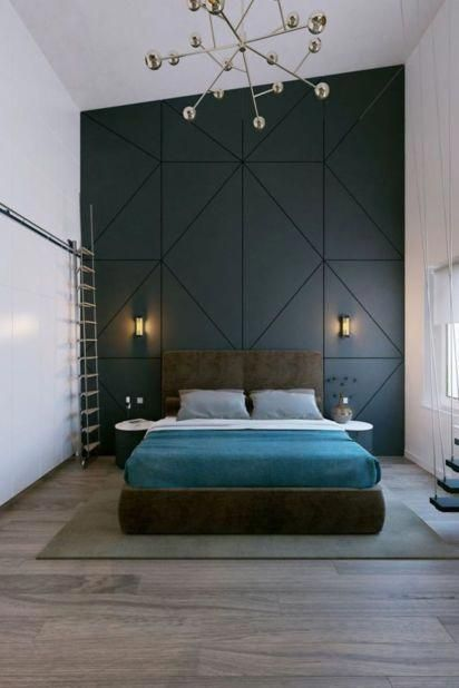 bedroom sconce - bedroom with high ceiling and modern sconces