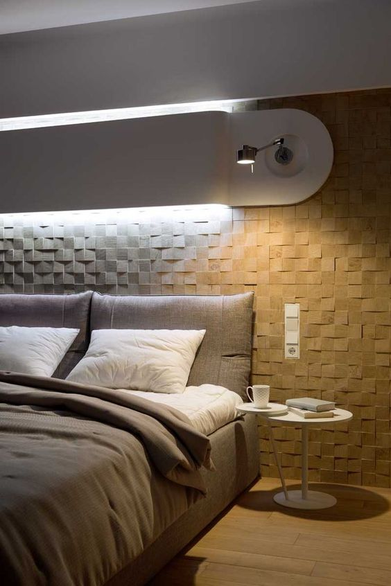 bedroom sconce - bedroom with 3d coating and sconce