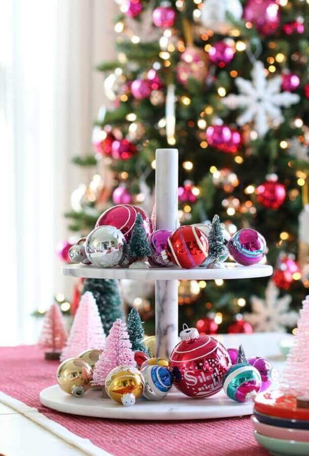 arrangement with small pine trees and colored balls for Christmas decoration Photo Pinterest