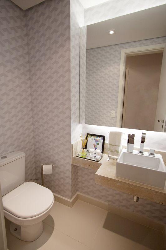 balcão para banheiro - chassi com espelho cristal e papel de parede cinza