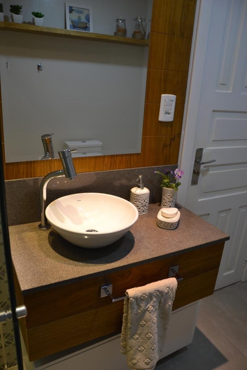balcão para banheiro - cuba branca redonda