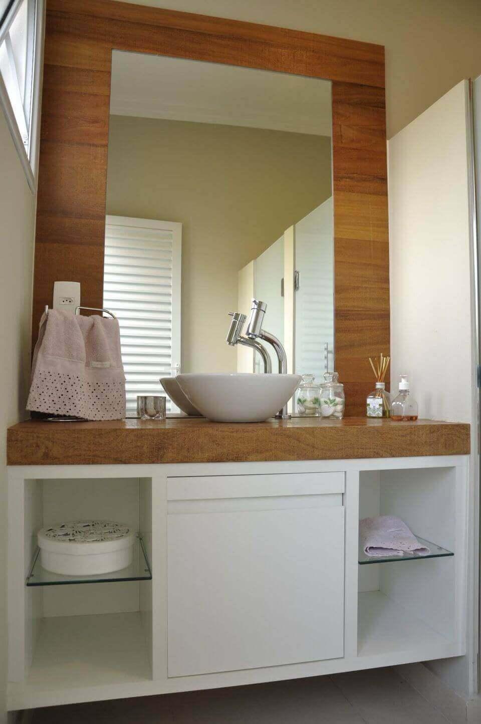 balcão para banheiro - cuba branca redonda simples
