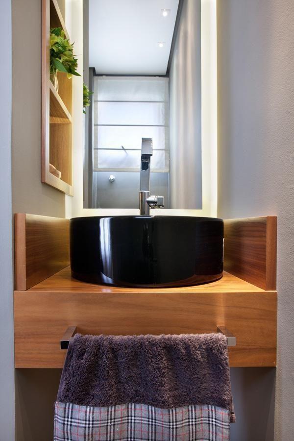 balcão para banheiro - cuba preta de lavabo