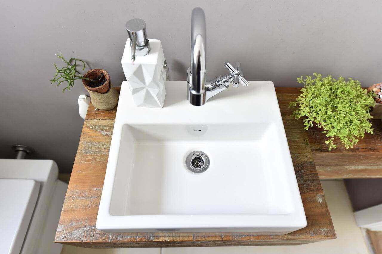 balcão para banheiro - cuba quadrada branca