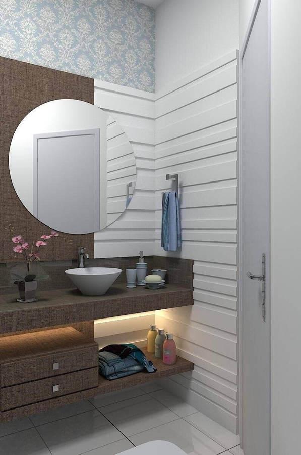 balcão para banheiro - espelho redondo em lavabo simples