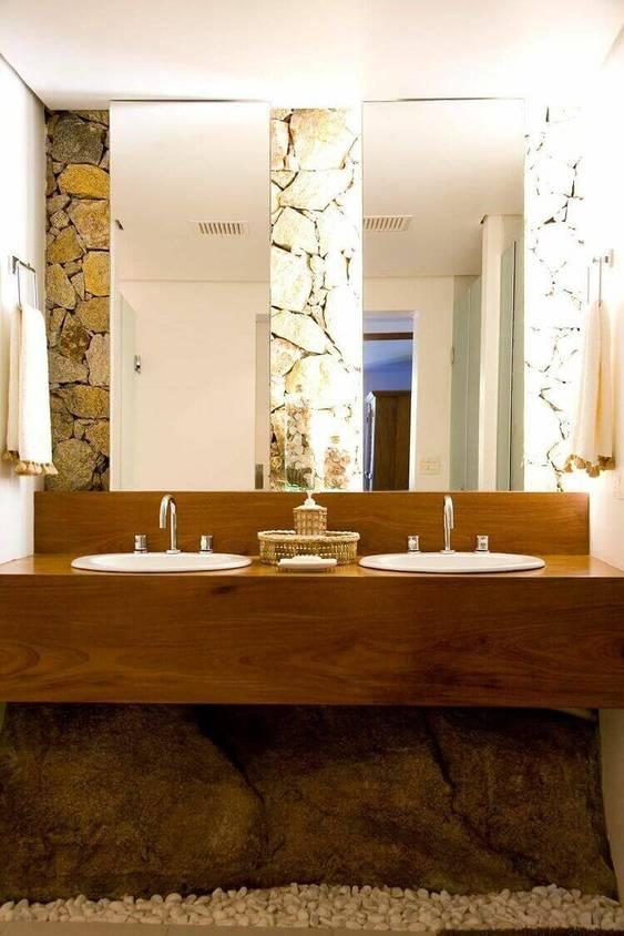 balcão para banheiro - lavabo com balcão de madeira com duas cubas