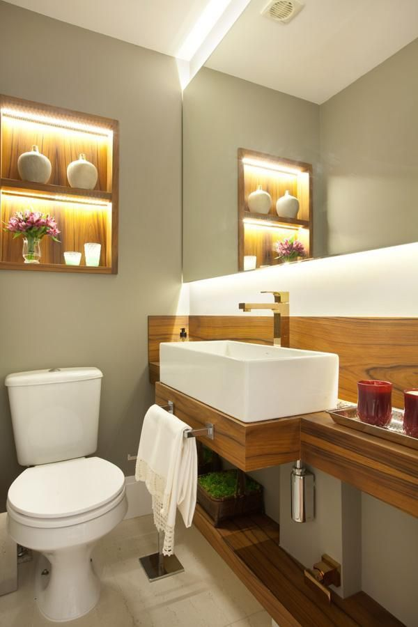 balcão para banheiro - lavabo com balcão grande de madeira