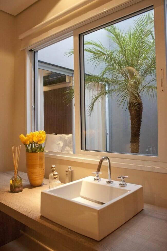 balcão para banheiro - lavabo com bancada de madeira