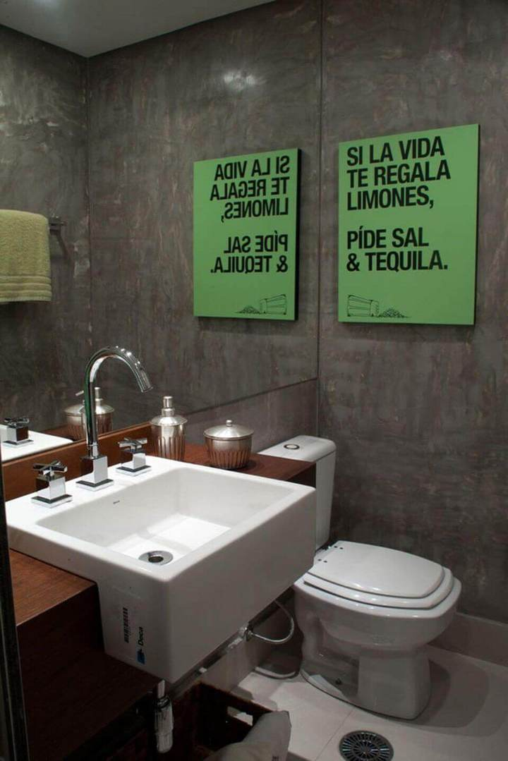 balcão para banheiro - lavabo com bancada de madeira e cuba interna