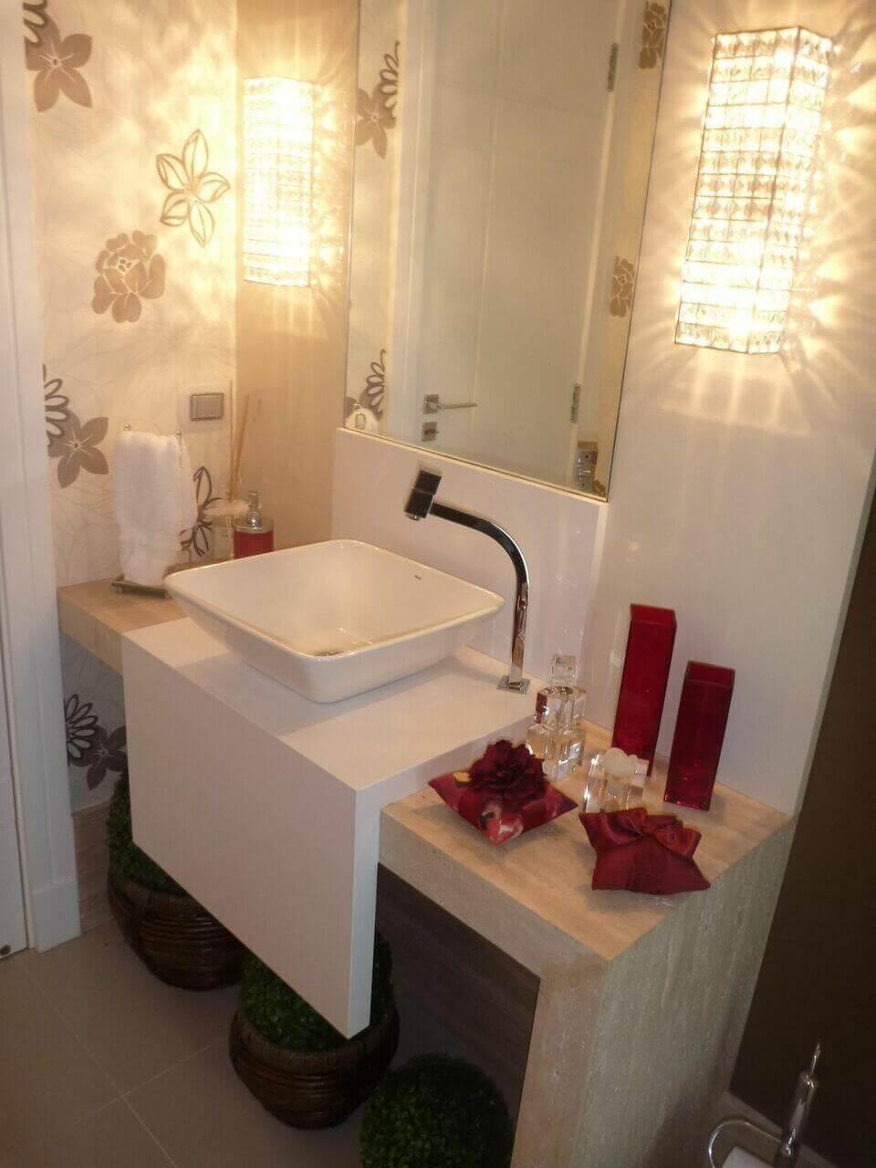 balcão para banheiro - lavabo com espelho