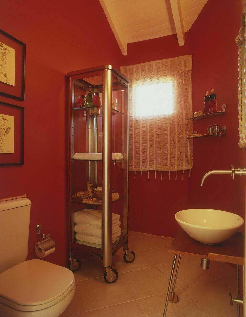 balcão para banheiro - lavabo vermelho com cuba branca de sobrepor