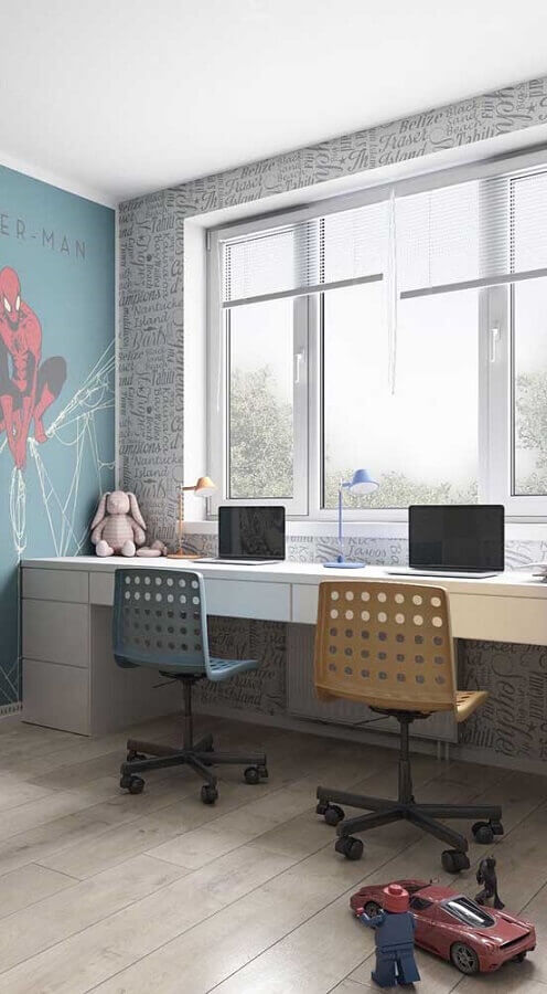 bancada de estudo decorada com cadeira giratória simples Foto Casas Pré Fabricadas