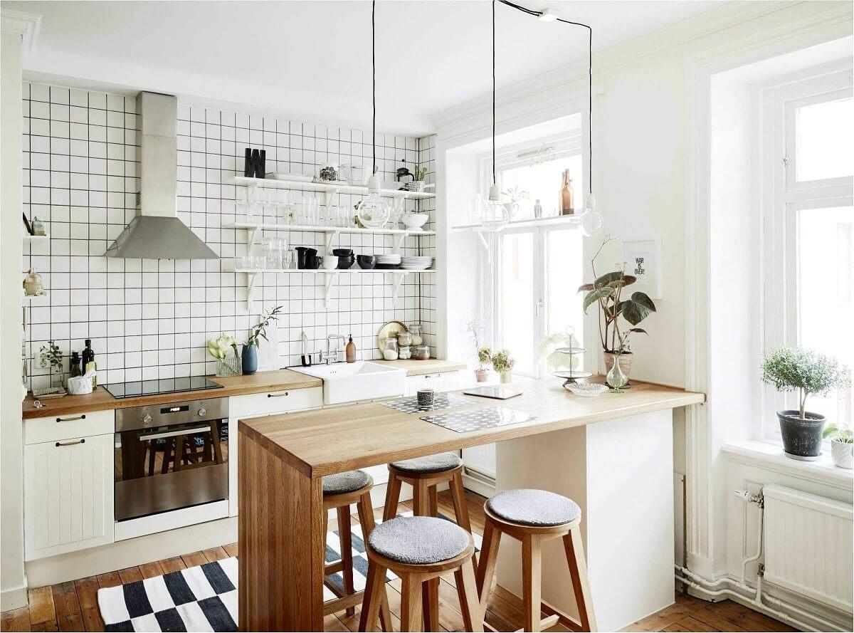 bancada de madeira para decoração de cozinha escandinava Foto Bartz Móveis planejados