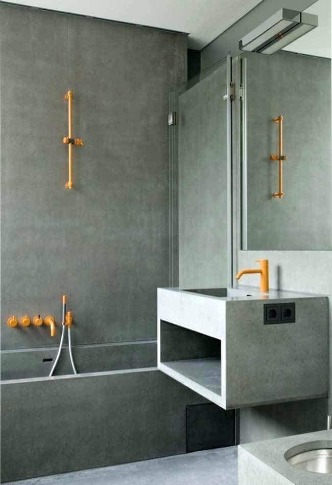 banheiro cinza moderno decorado com detalhes em amarelo Foto Air Freshener