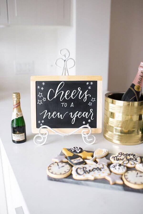 biscoito personalizado para festa de réveillon Foto Sparkle & White