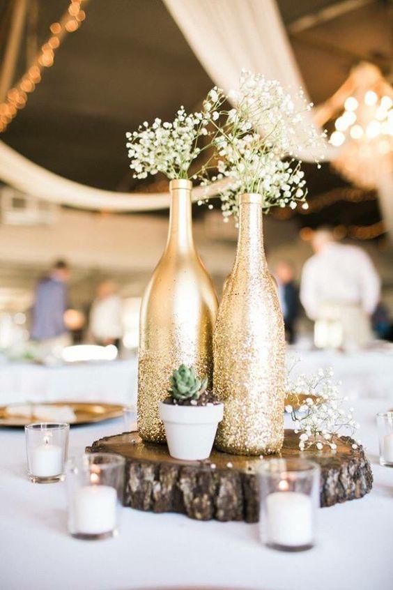 bodas de ouro - arranjos de flores com garrafas