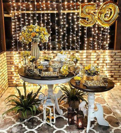 bodas de ouro - mesa de doces e flores