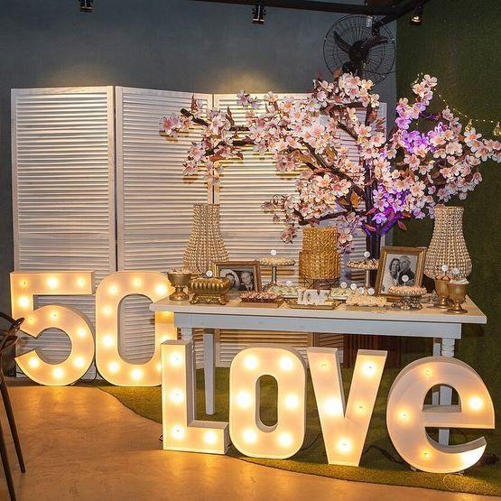 bodas de ouro - mesa de festa 50 love