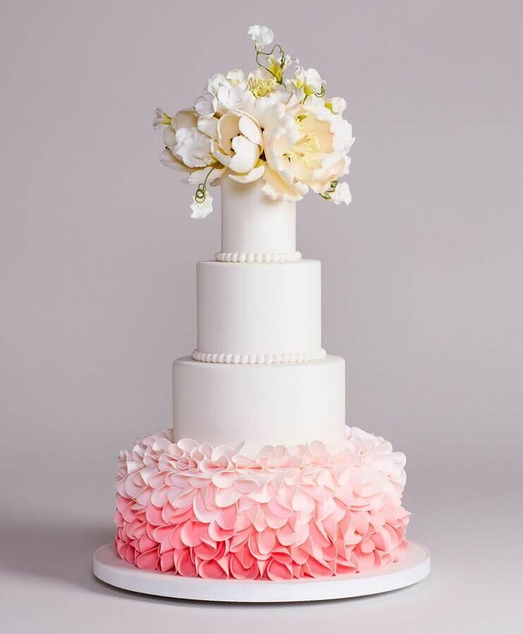 bolo fake de casamento rosa e branco Foto 100 Layer Cake