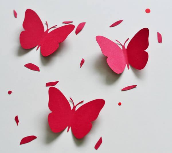 Borboletas de papel vermelho