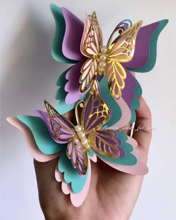 Misture cores na hora de como fazer borboletas de papel 3D