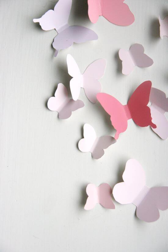 borboletas de papel na parede