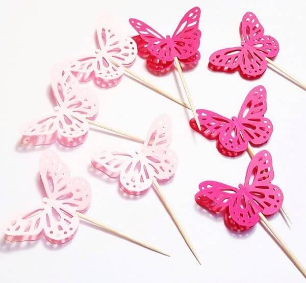 Borboletas de papel cor de rosa
