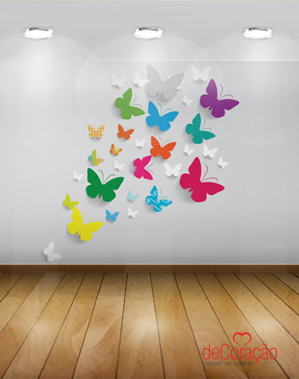 Borboletas de papel na parede para decorar o ambiente