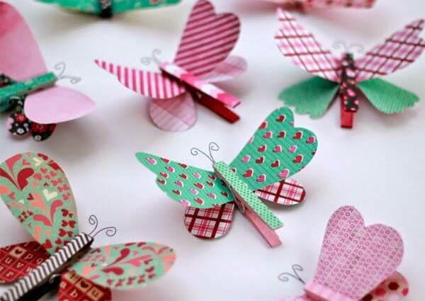 Borboletas de papel estampado